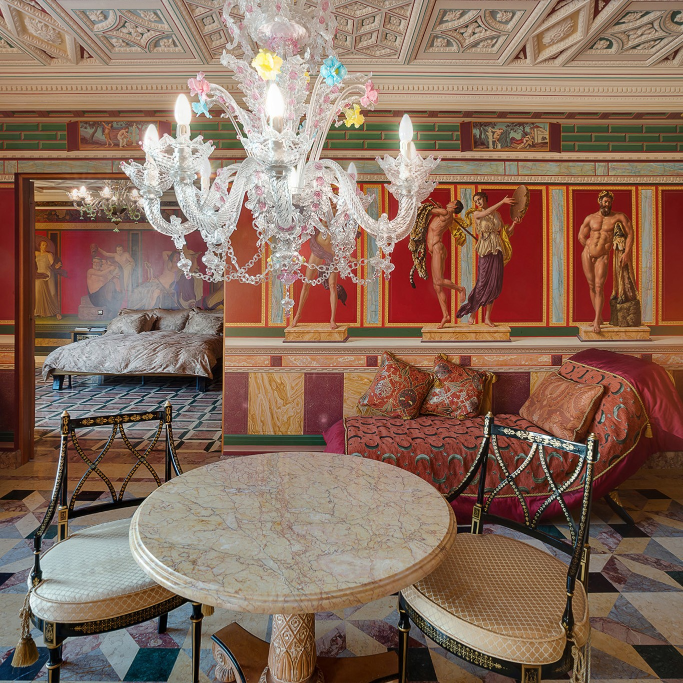 Red interior in roman style (or greek). Services of a photographer of apartments in Moscow