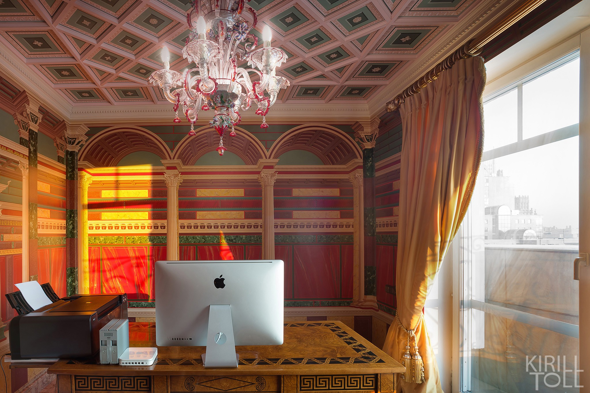 Cabinet. Red interior in roman style (or greek). Services of a photographer of apartments in Moscow