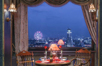 Hotel with a salute outside the window. Interior photography for renting real estate. Moscow.