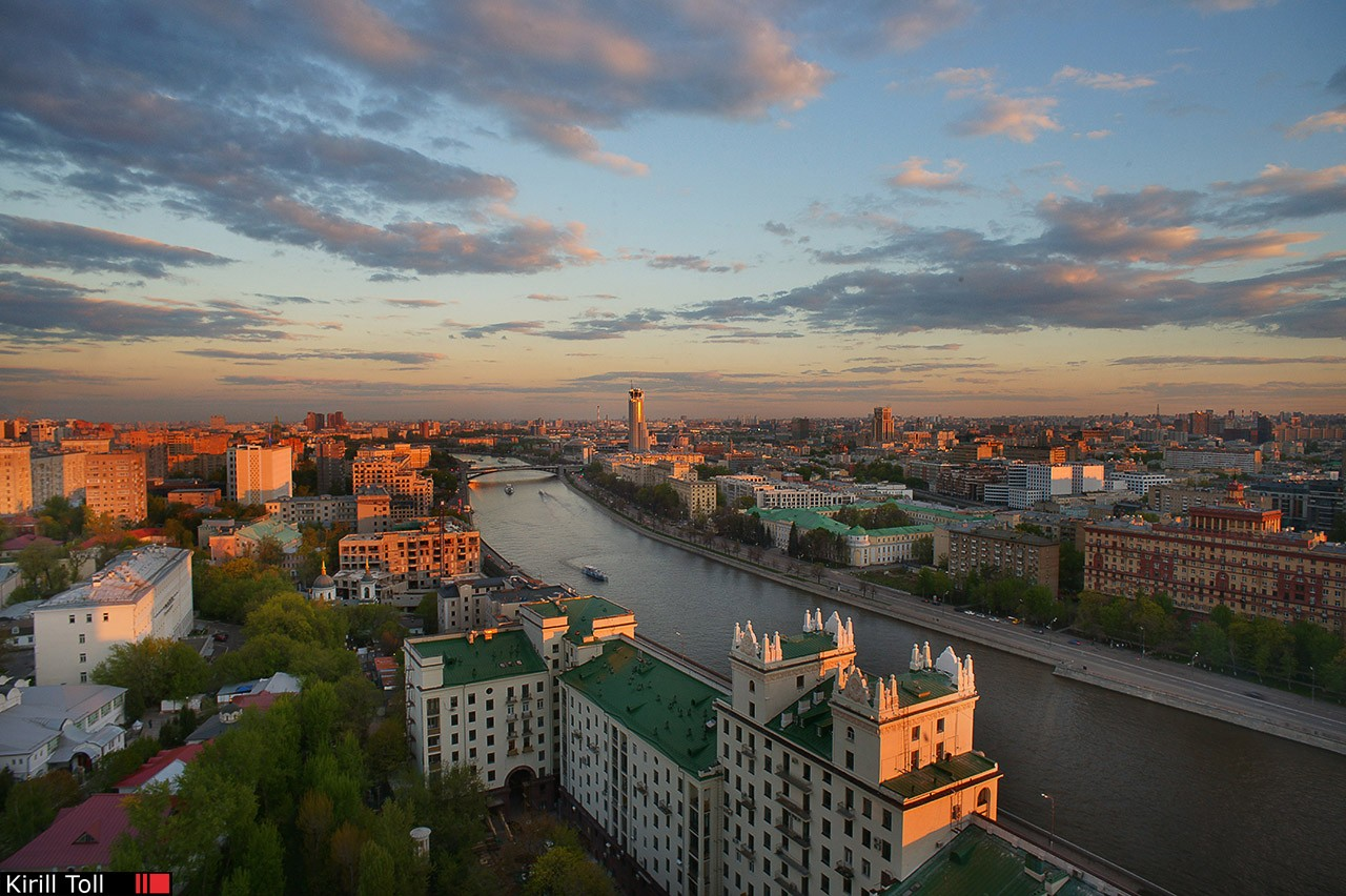 The view from the window of the th hotel in an old residential building. Interior photography for renting real estate. Moscow.