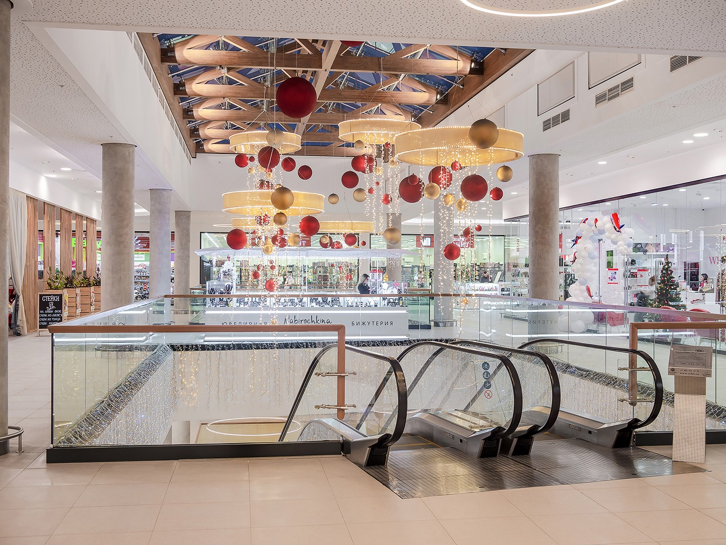 escalators in a shopping mall. interior photography of real estate in Moscow