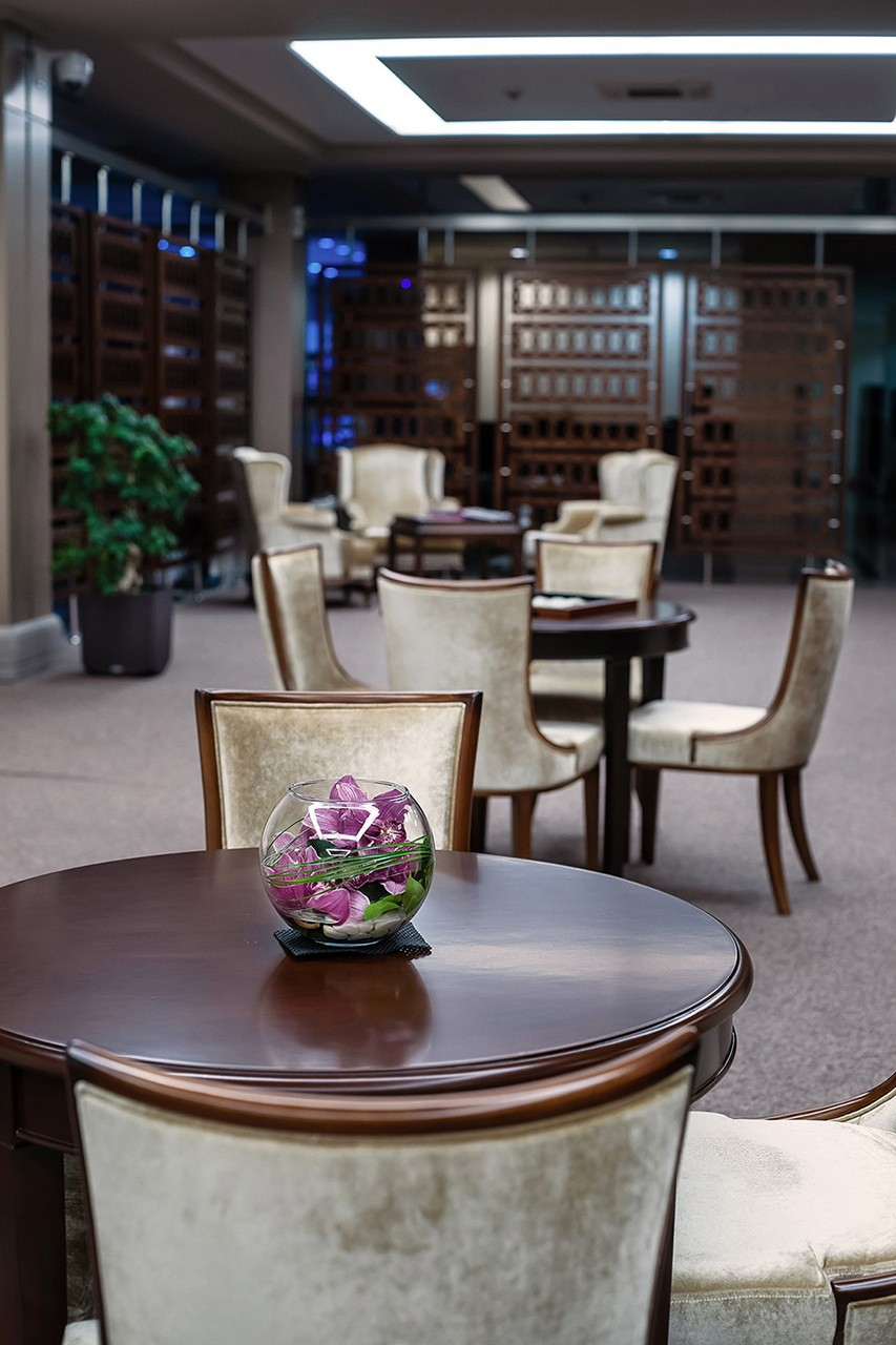interior photographs of the waiting area at the Baku business airport