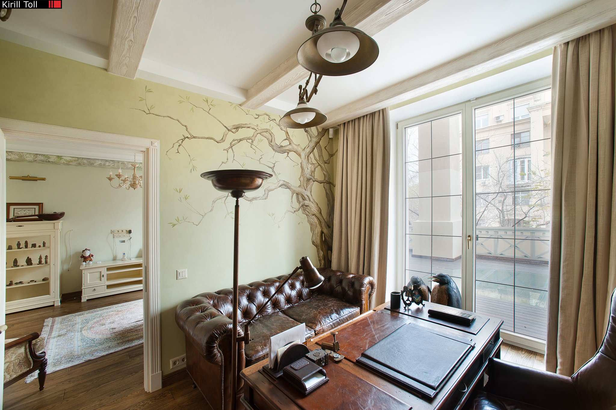 Apartments with wall paintings. Interior photography