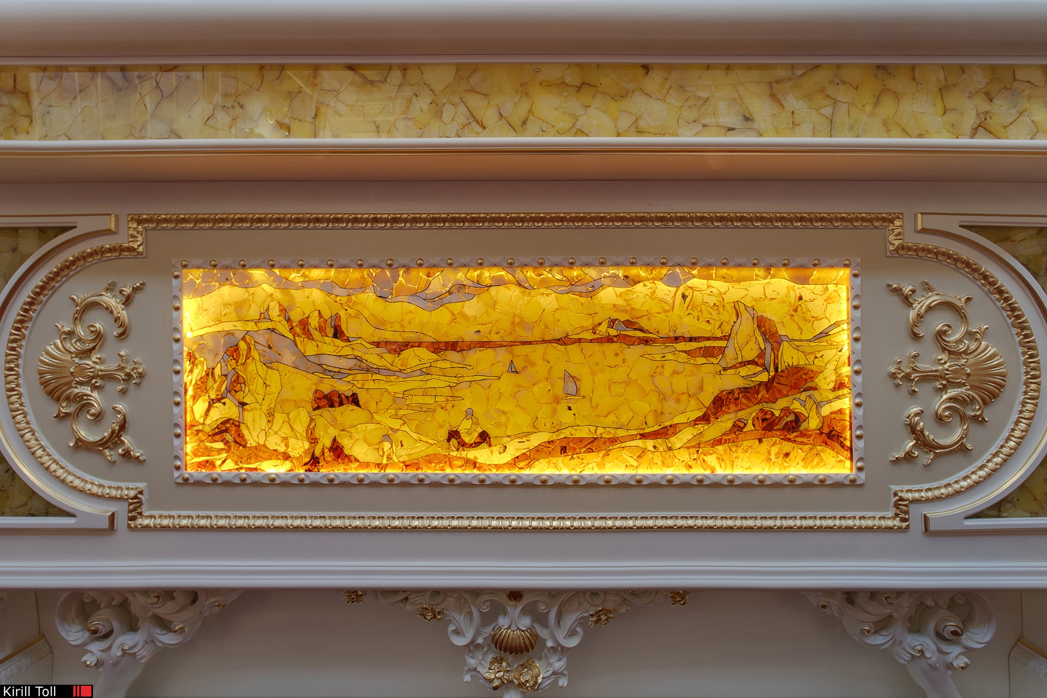 Amber decor in the interiors of the apartments. Professional photography.