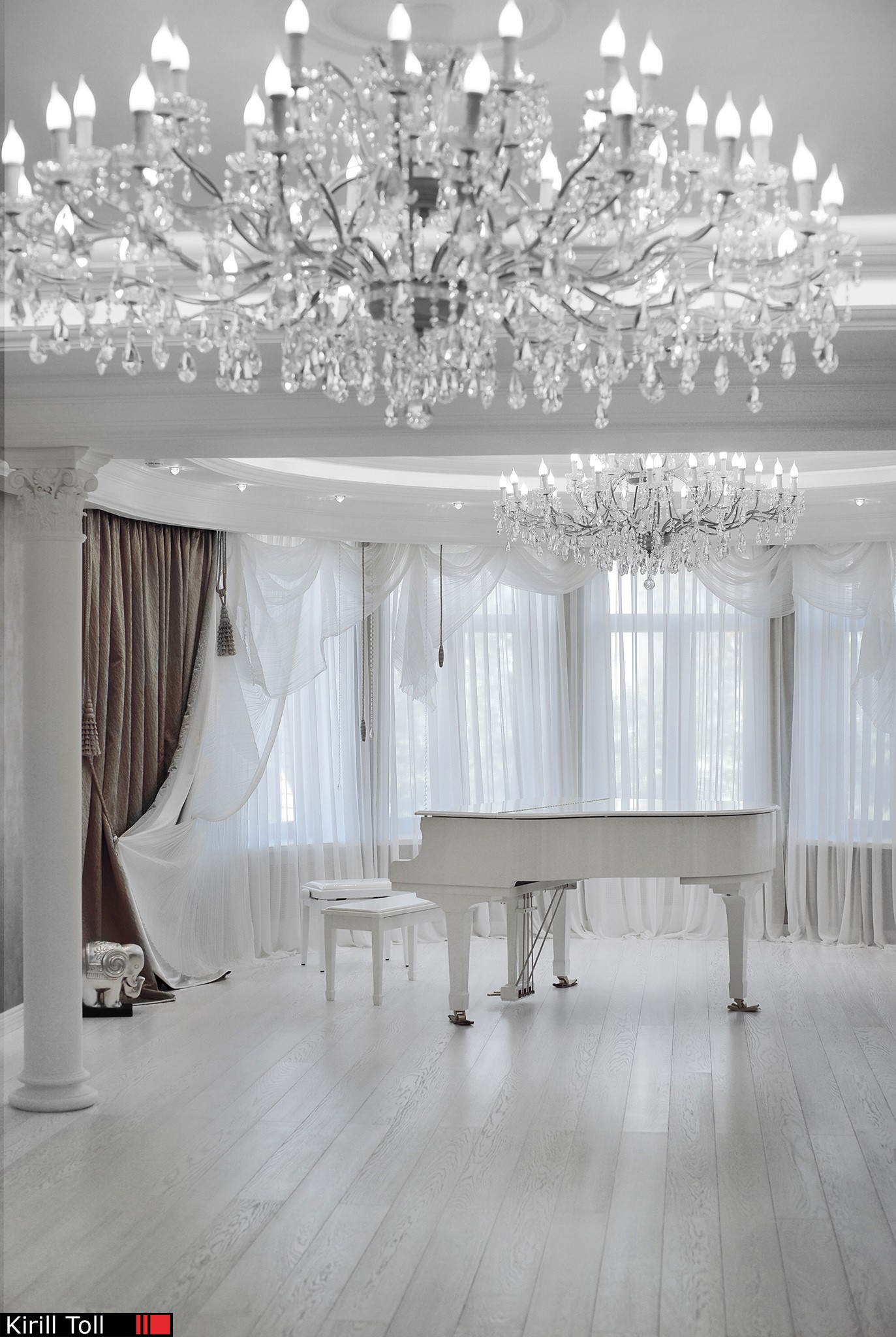 interior photography of a large house with a grand piano