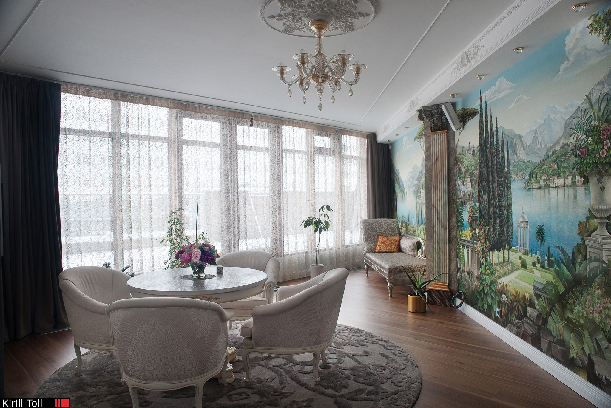 Apartment with wall paintings. Part of interior photography.