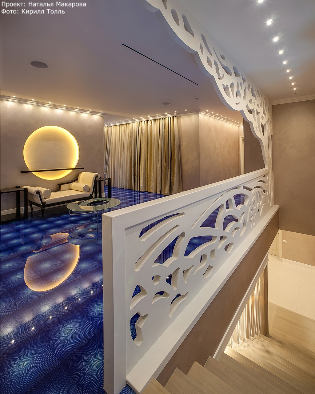 Villa. Part 1. Interior photography of the pool and lounge with bulk floor.