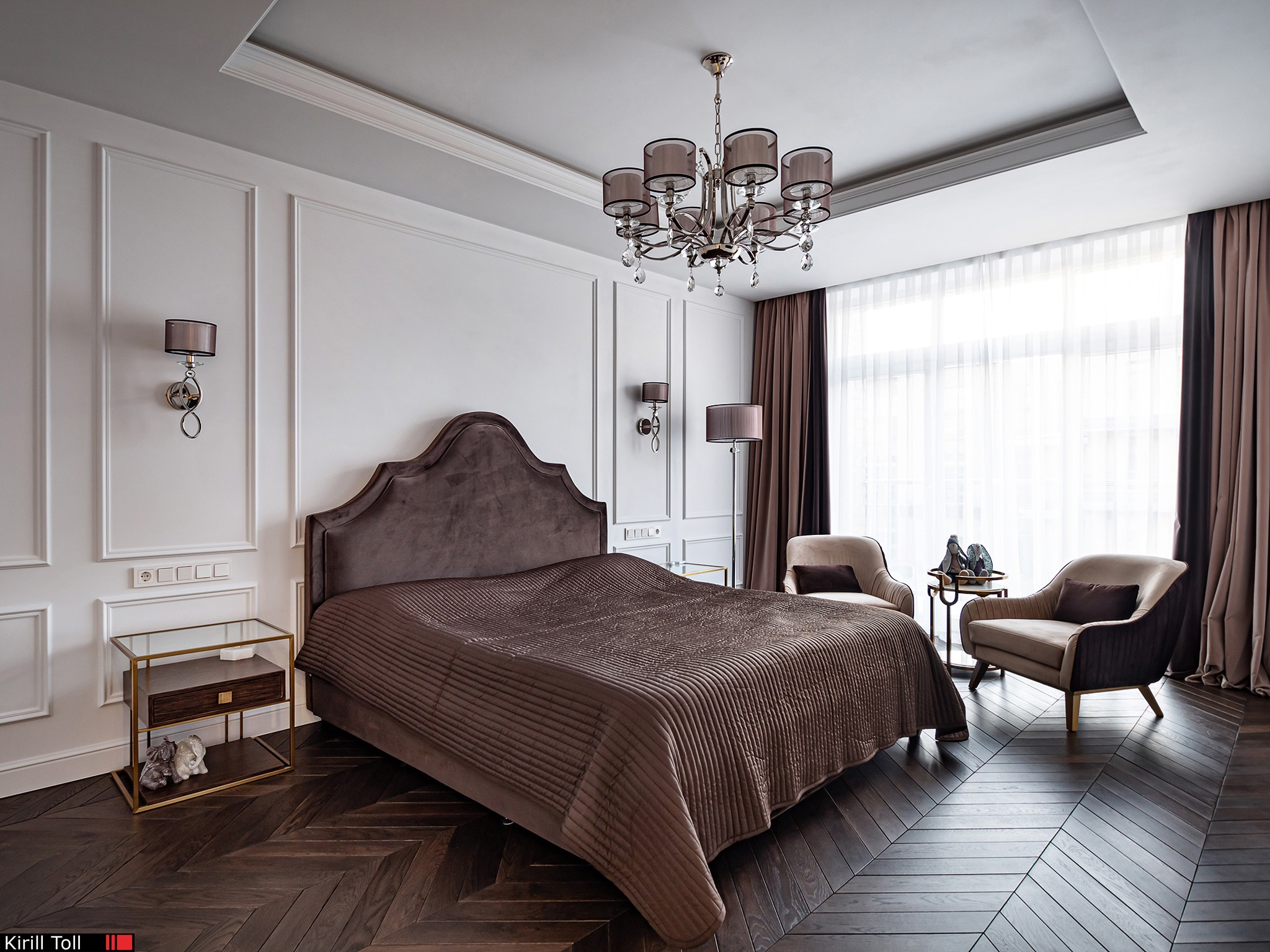 The interior of the bedroom of a country house. Real estate photographer