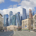 View of Moscow City & Building-Books on New Arbat. Architecture photography