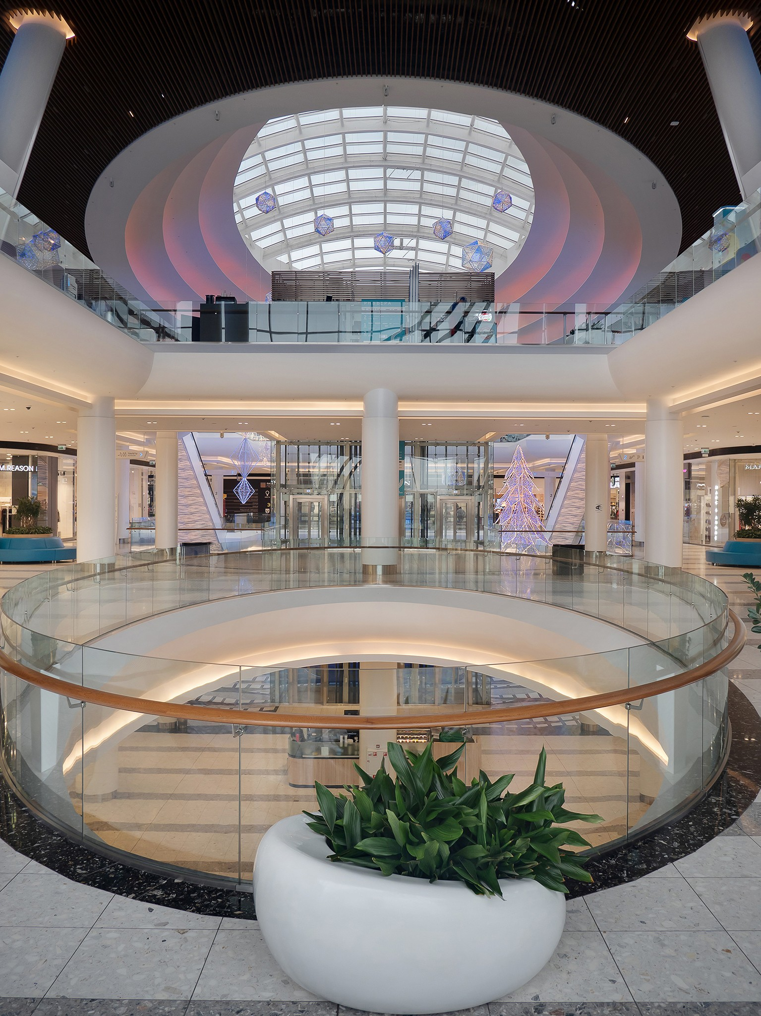 Photos of halls of shopping centers. Professional shooting of interiors.