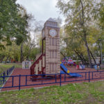 Kids playgrounds in Moscow. Architecture photography