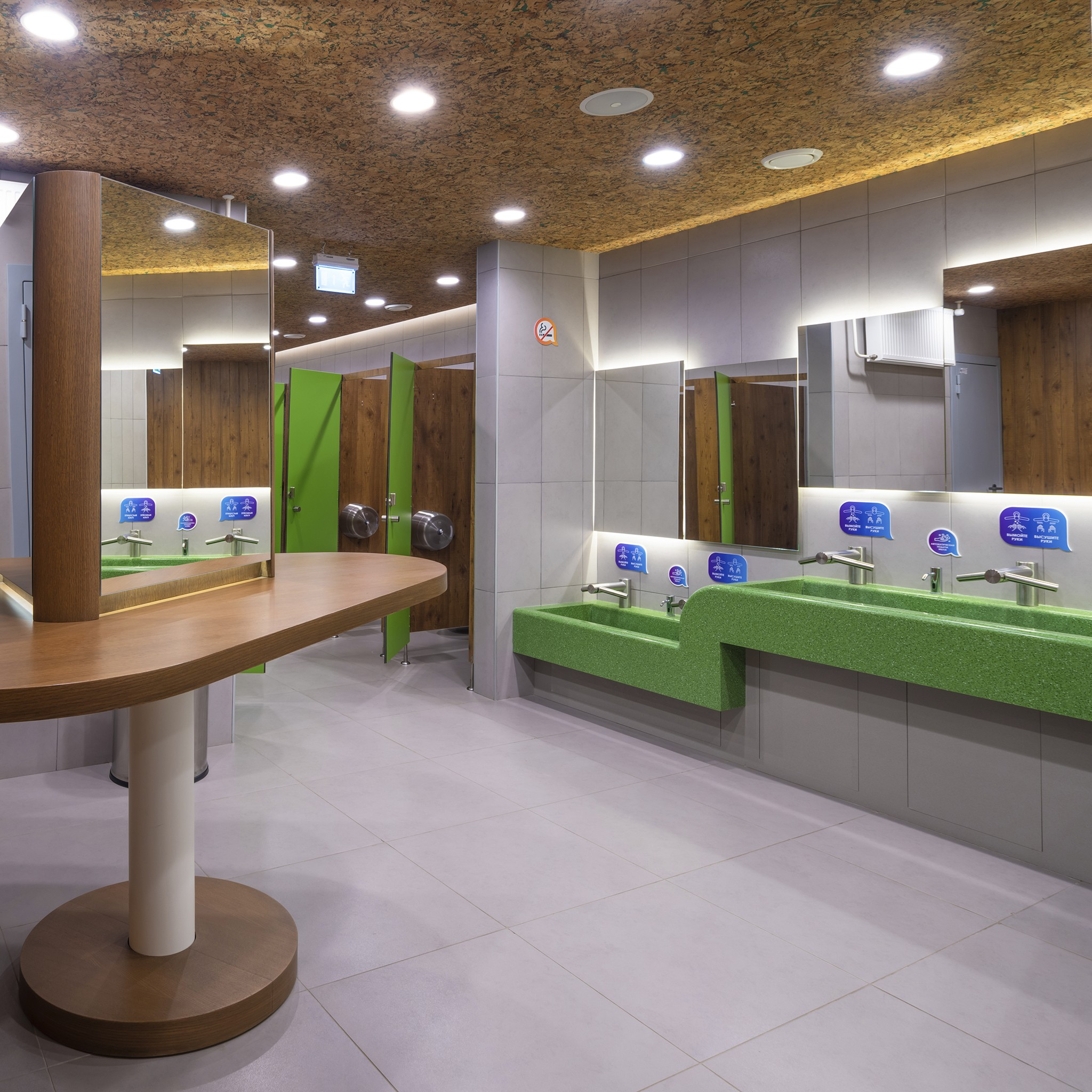 several toilets in a shopping mall
