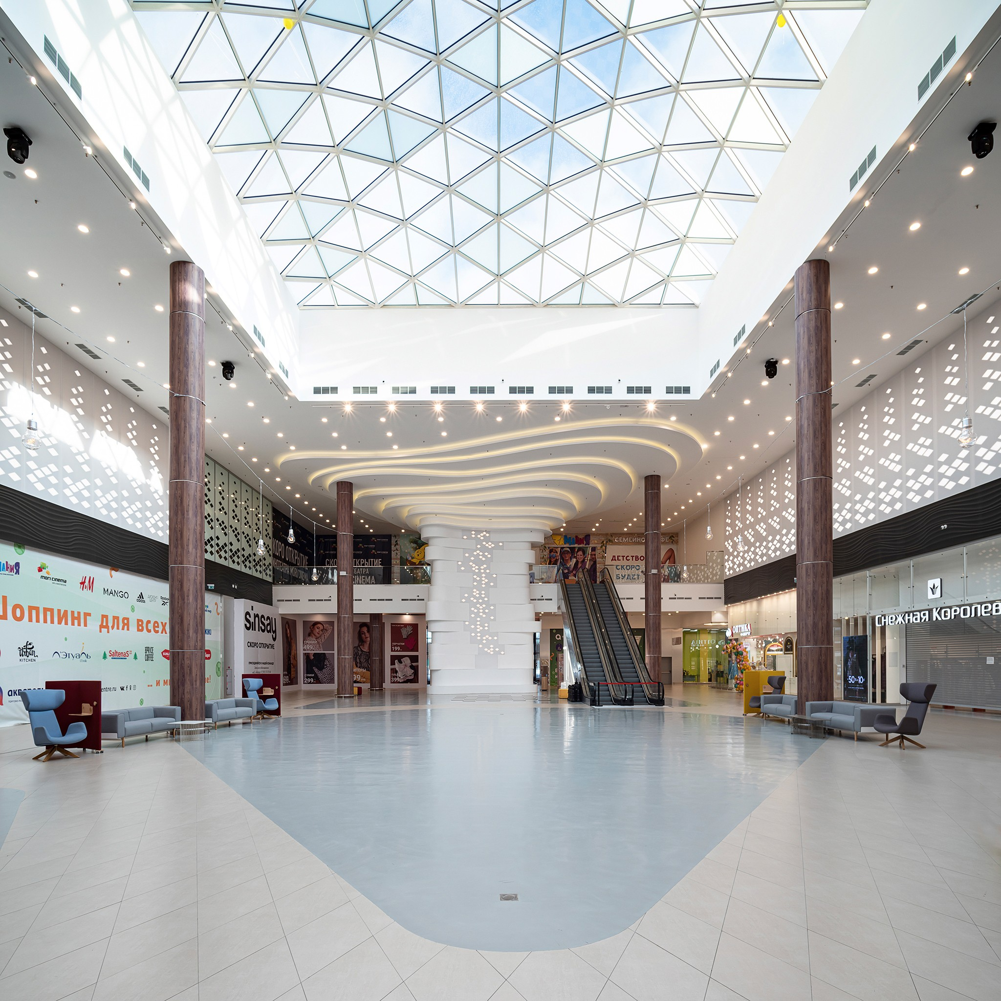 Recreation interior in a large shopping and entertainment center