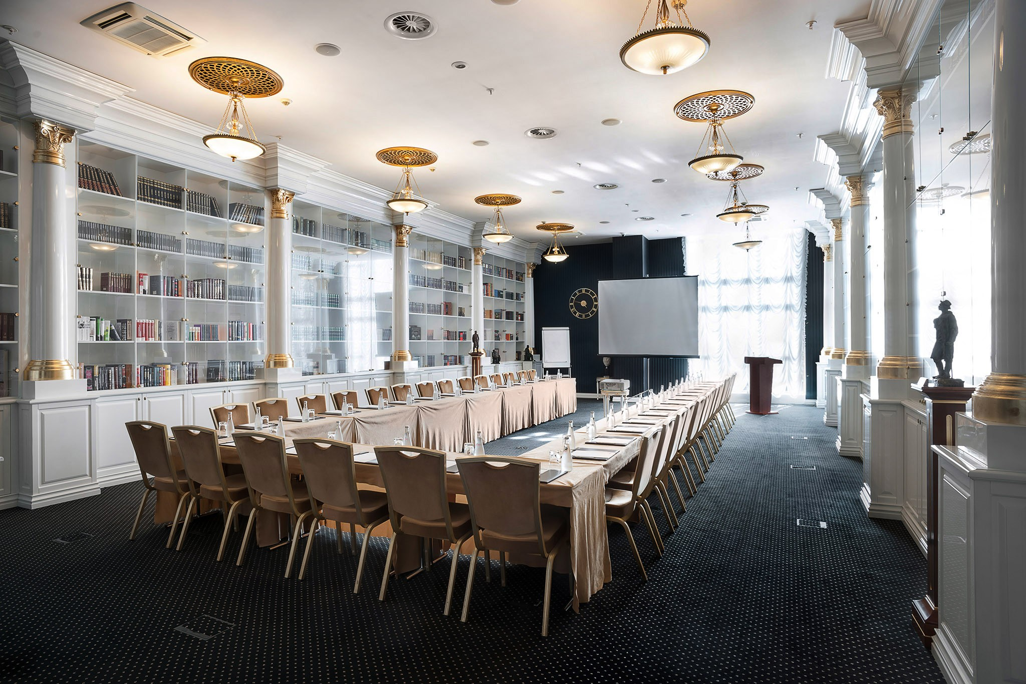 Meeting room in the style of the library. Interior photography