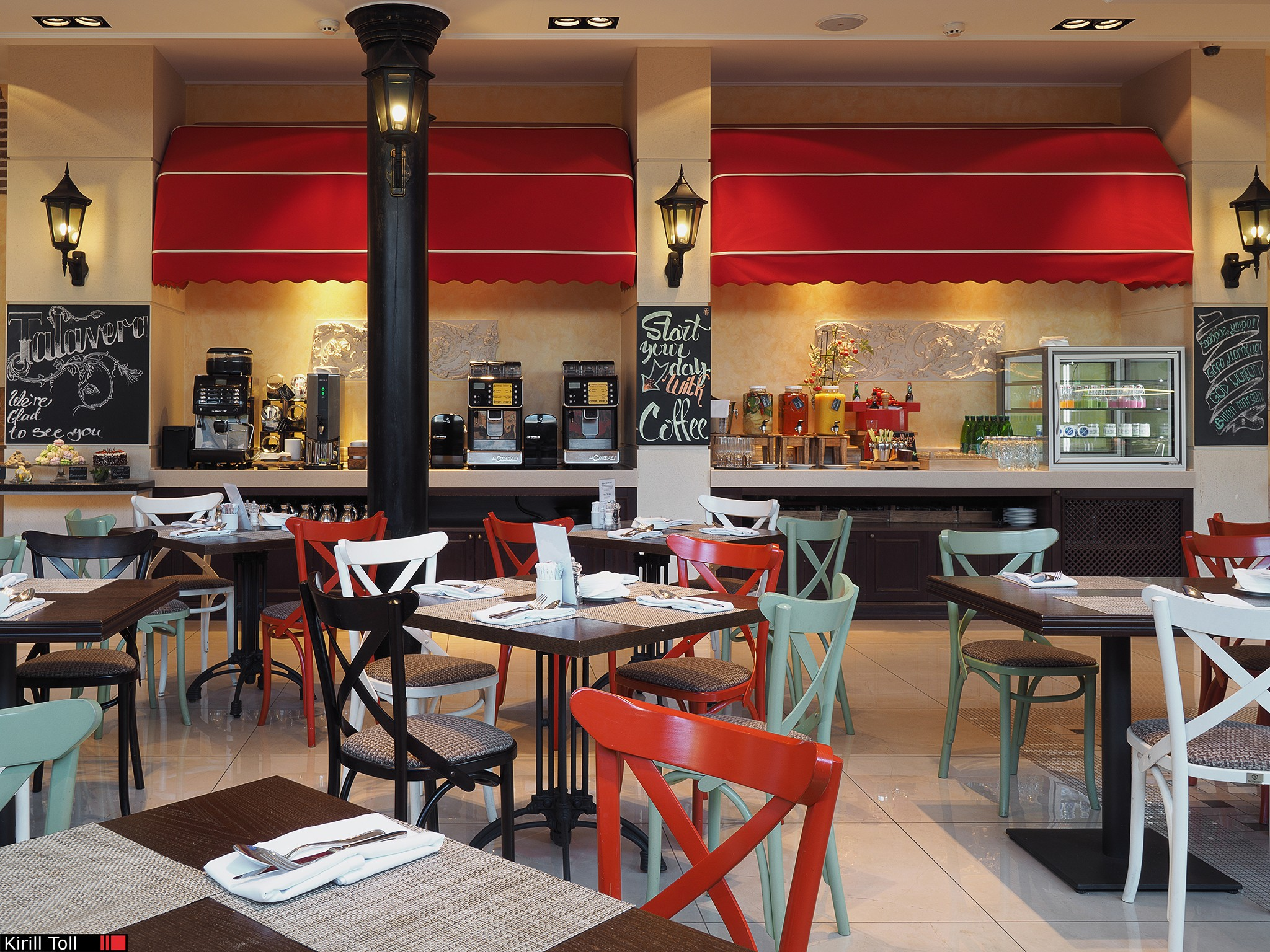 Restaurant interior with a shevd table. Professional photo for booklets