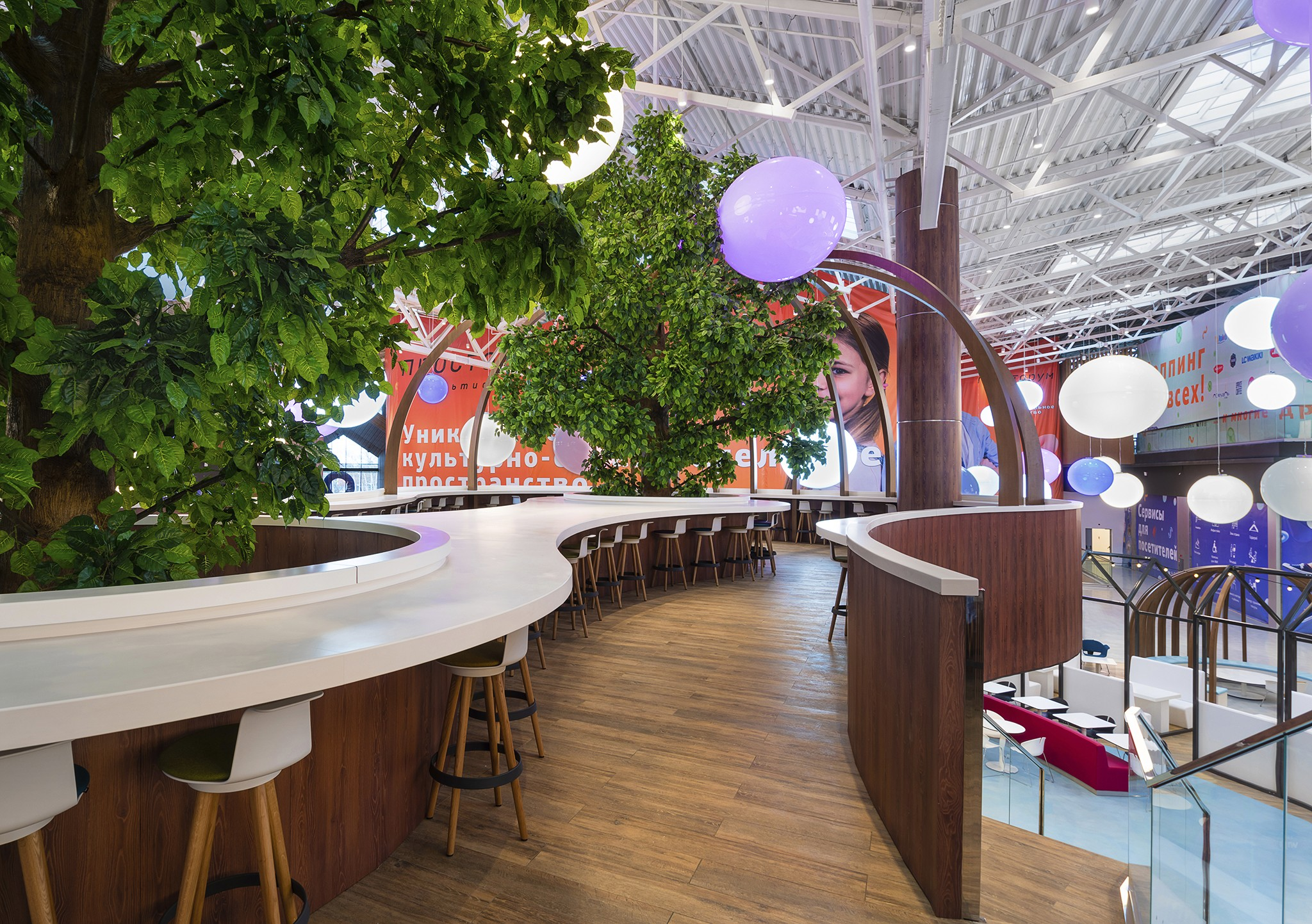 professional photos of the interior of the food court of the shopping and entertainment center