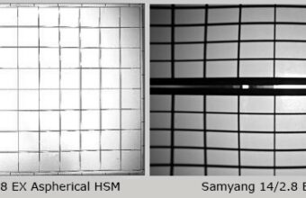 example of wave distortion in Sigma 14 / 2.8 EX Aspherical HSM Samyang 14 / 2.8 ED AS IF UMC lenses